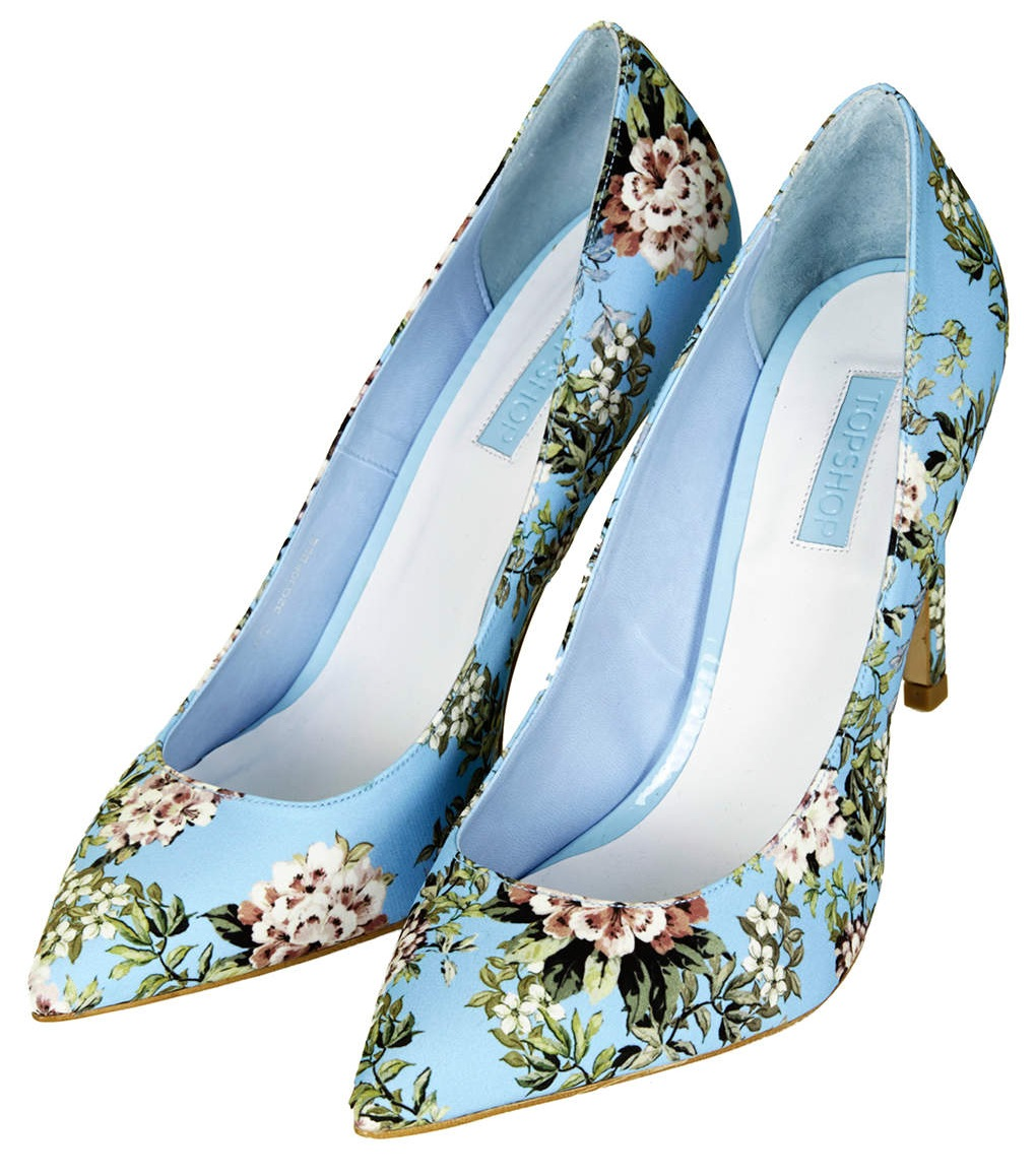 GLORY Floral Print High Shoes in blue, £58