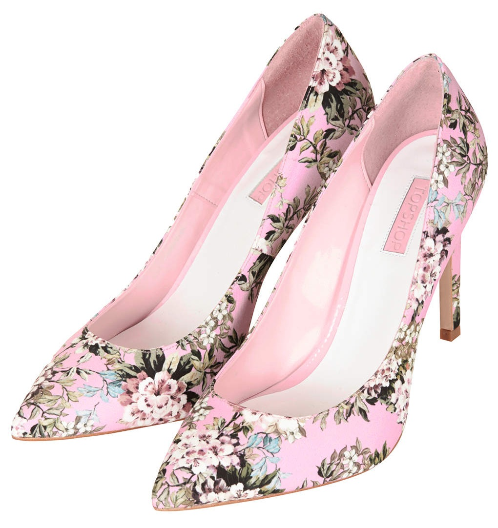 GLORY Floral Print High Shoes in pink, £58
